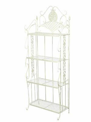 Garden shelf iron wrought iron 175cm antique style creamwhite 13kg