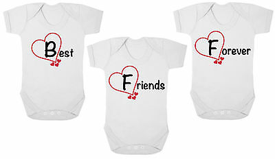 BFF BEST FRIENDS FOREVER New TRIPLETS Bodysuits/Grows, Newborn Gift, Baby Shower
