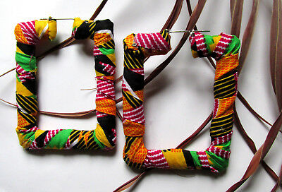 LIGHT Rectangle African Kente PRINT Fabric Covered Earrings. 2.5 inches x 3 inch