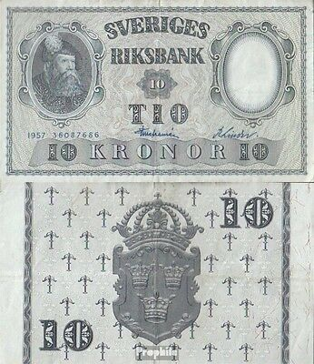 Sweden Pick-number: 43e (1957) used (III) 1957 10 Kronor