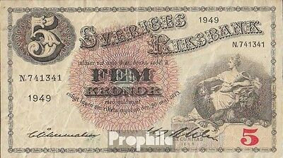 Sweden Pick-number: 33af (1949) used (III) 1949 5 Kronor