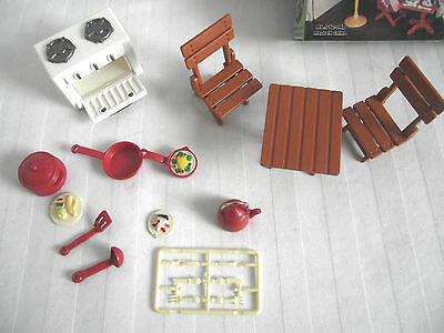 Dolls House Kitchen Set Table & 2 Chairs / Stove / Oven  Kettle/ Utensils & Pan