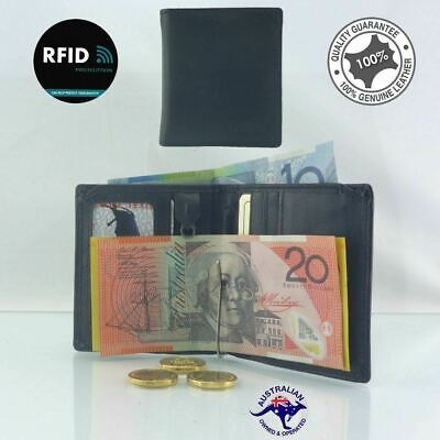 Genuine 2 Fold New  Full Grain Premium Cowhide Leather RFID Protected  Wallet wi