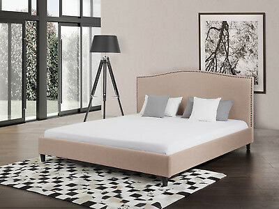 Bed, decorated backrest, upholstered, bedroom, 180x 200 cm, beige