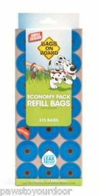 Bags On Board Dog Poo Bags Economy Pack Pet Waste 21x 15 Refill Rolls (315 Bags)