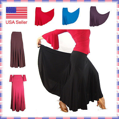 "7267 6 color 6 size 8 panel Ballroom Smooth Full Length 37"" Standard Dance Skirt"
