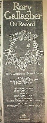 RORY GALLAGHER Tattoo 1973  UK Poster size Press ADVERT 16x6 inches