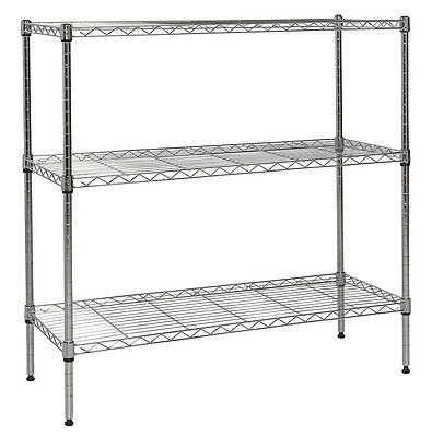 "Apollo Chrome 3-Shelf Nsf Wire Shelving Rack With Wheels, 14""x36""x36"""