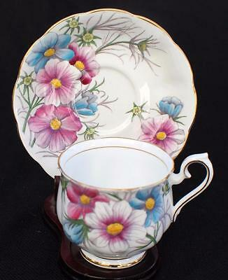 Vintage ROYAL ALBERT Bone China England Flower Month Series COSMOS Cup & Saucer