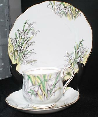 Vtg ROYAL ALBERT England Flower of Month Series SNOWDROP Trio Cup Saucer&Plate#1
