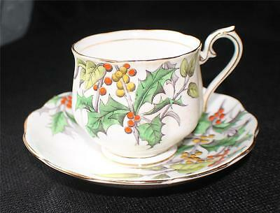 Vintage ROYAL ALBERT England Flower of Month Series HOLLY Cup & Saucer #12