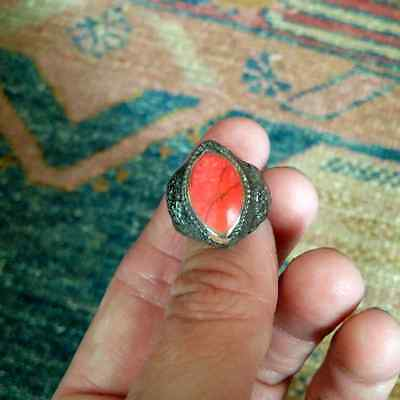 Vintage Afghan Silver Plated Ring Red Stone Setting Ornate Band Size 6