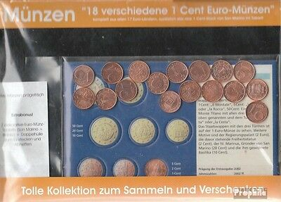 Europe 18 different bankfrisch 1 cent Euro-Coins out 18 different Countries