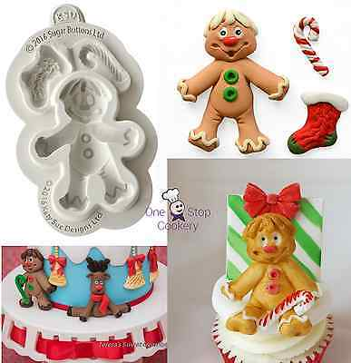 Katy Sue Designs Sugar Buttons GINGERBREAD MAN Silicone Christmas Mould FREE P&P