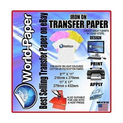 IRON ON INKJET HEAT TRANSFER PAPER LIGHT FABRICS 10 SHEETS PL 8.5x11
