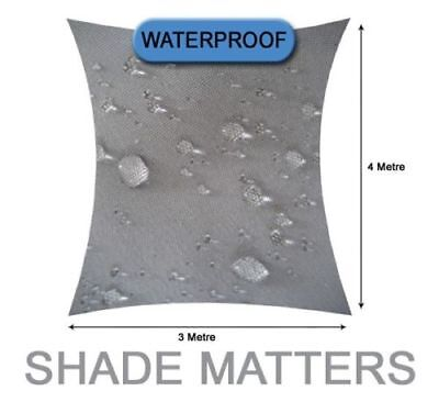 New Waterproof Shade Sail- Rectangle 3m x 4m Grey Color