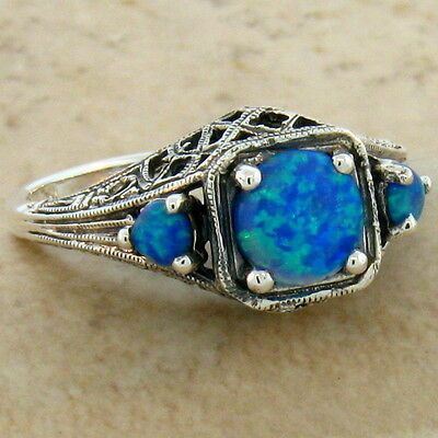 Blue Lab Fire Opal Antique Deco Style 925 Sterling Silver Ring Size 6,    #251