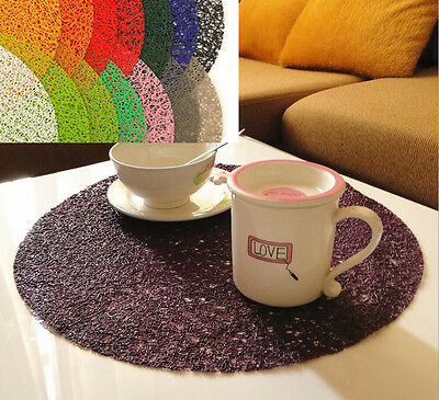 """1 Pcs 15"""" PVC  Placemats Insulation Mats PP Round Coasters Kitchen/Dining Table"""