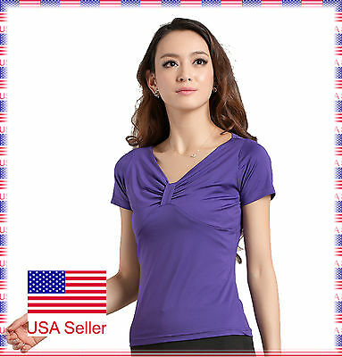 SGT04PU (S-XL) New Women Ballroom Smooth Latin Tango Salsa Dance Blouse Top
