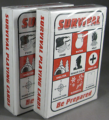 Survival Playing Cards 2 Sets Zombie Apocalypse Survival Kit Outdoor Guide Bag
