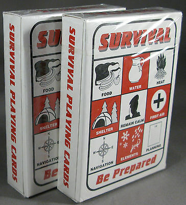 Survival Playing Cards 2 decks Bugout Backpack Pack Bag Prepper Supplies Gear