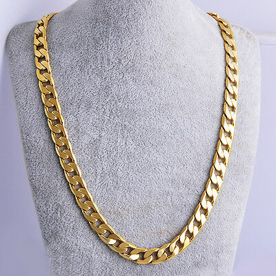 "Yellow Rea Gold Plated Men Cuban Chain Necklace 24"" 7mm Thick Men jewelry Women"