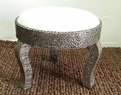 Moroccan Round 3 legged Silver Stool- Middle Atlas Red Berber White Leather