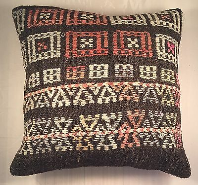 Rug Kilim Pillow Cover 16x16 Vintage Turkish Kilim Cushon  Cover US Seller #32