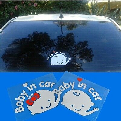 """""""Baby in car"""" Warning Baby on Board Safety Sign Cute Car Decal / Vinyl Sticker"""