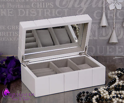 White Wooden Jewellery & Watch Box One  Drawer case #27