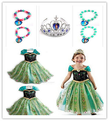 Frozen Girls Anna Costume Queen Princess Cosplay Party Fancy Formal Dress &Crown
