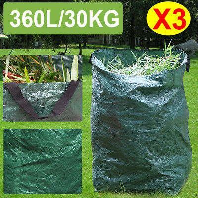3 X Garden Waste Bags Heavy Duty Large Refuse Sacks with Handles 30kg/360L