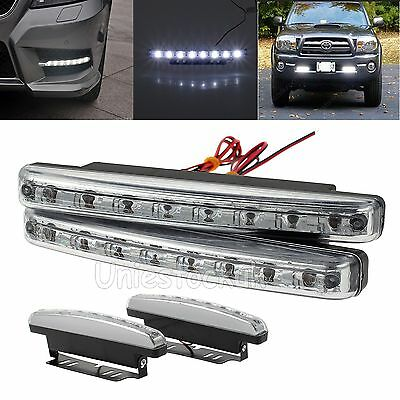 2X 12V/24V 8 LED Daytime Running Lights Car Driving DRL Fog Lamps Waterproof UK
