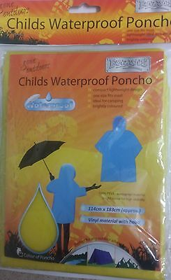 New Boyz Toys Childs Waterproof Poncho One Size Camping Outdoor Hiking Yellow A3