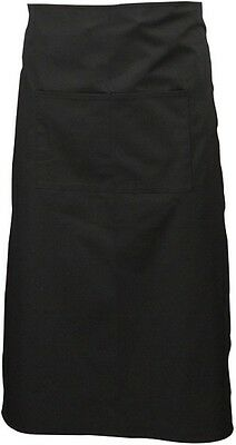 Black Cotton Chef Waist Bistro Kitchen Apron NO Pocket 70cm × 94cm - CLEARANCE