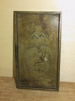 Antique Chinese Bronze Tray Possible Scholar's Item Early Engraved