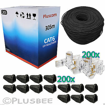 305M Meter Roll Black Cat6 Cable Ethernet + 200Pcs Connectors & Boots Kit Free