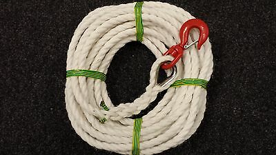 Gin Wheel Rope - 20 M of 16mm Staplespun Rope with 1.5TON Swivel Hook with catch