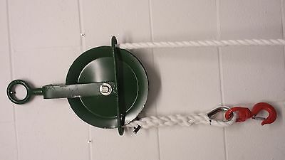 Gin Wheel with Rope 20M of 16mm Staplespun Rope and 1.5 Ton Swivel Hook-Roofing