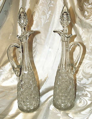 Pair Antique American Brilliant Cut Glass Ewers or Carafes