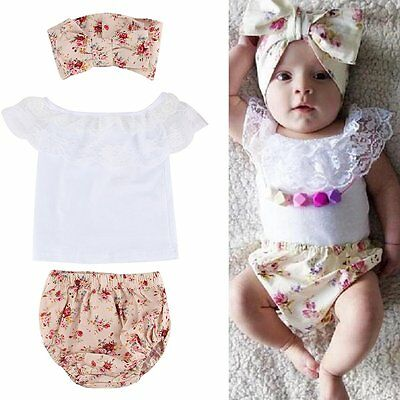 3pcs Newborn Infant Kids Baby Girls T-shirt +Pants+Headband Outfits Clothes Set