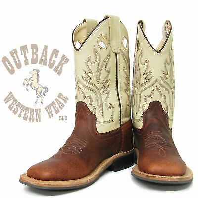 Old West Kids Brown Square Toe Boot BSC1855
