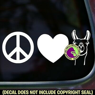 PEACE LOVE LLAMAS Vinyl Decal Sticker Llama Love Car Window Trailer Sign