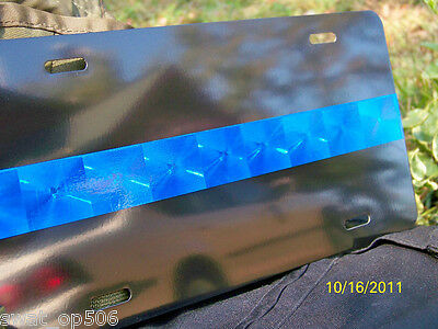 Thin Blue Line Police  HOLOGRAPHIC License Plate & extra decal AWESOME! FOP PBA