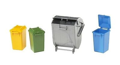 Bruder #02607 Garbage Can Set (3 Small 1 Large)  -New-Factory Sealed! #2607