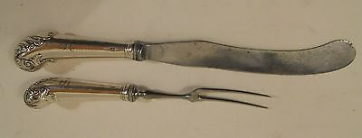 Signed 2 Pc Sterling Silver Carving Set William Abdy London 1784