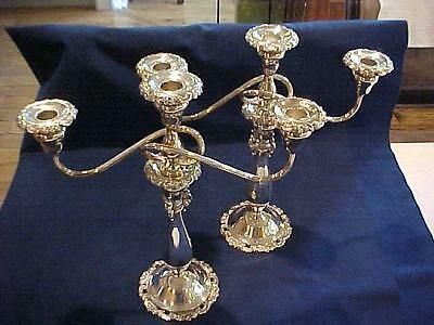 """Vintage Pair 14"""" High Wallace BAROQUE Silverplated 3 LIGHT CANDELABRAS - NICE!"""