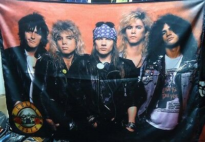 GUNS N' ROSES Band members 1 FLAG BANNER CLOTH POSTER TAPESTRY CD Heavy Metal