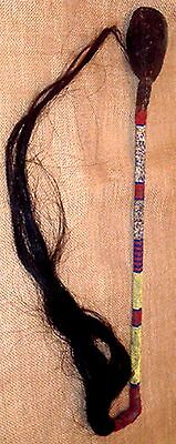Beautiful Vintage Sioux Indian Seed Beaded Skull Cracker War Club with Horsehair