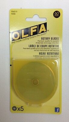 OLFA RTY3 Set of 5 Replacement Blades 60mm (Item # RB60-5) Tungsten steel blades